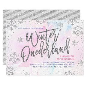 Winter ONEderland Birthday Silver Glitter Invitation