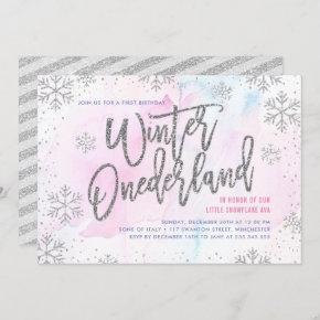 Winter ONEderland Birthday Silver Glitter Invitation