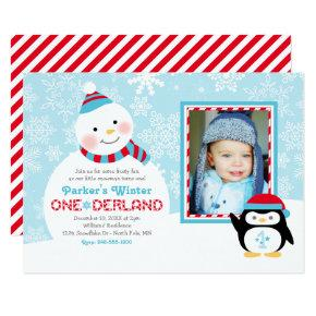 Winter ONEderland Birthday | Snowman and Penguin Invitations