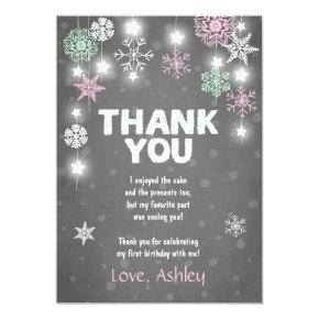Winter ONEderland Birthday Thank you Card Pink