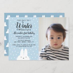 Winter ONEderland Boy Photo 1st Birthday Blue Invitation