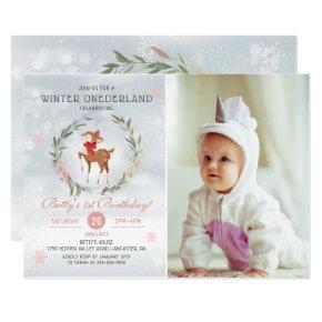 Winter Onederland Deer Baby First Birthday Photo Invitation