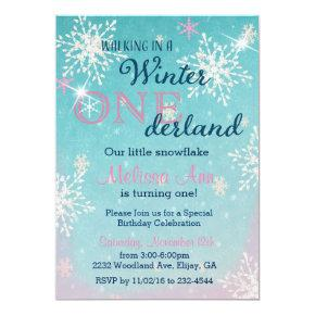 Winter Onederland First Birthday Invitaiton Invitation