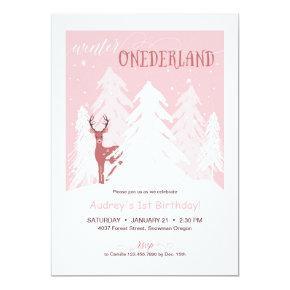 Winter Onederland First Birthday Party Invite Pink