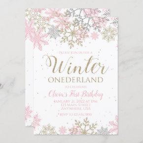 Winter Onederland First Birthday pink snowflake Invitation