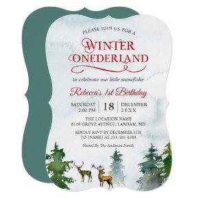 Winter ONEderland Forest Deer Baby First Birthday Invitation