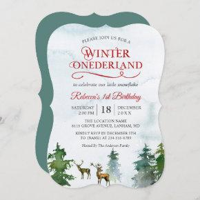 Winter ONEderland Forest Deer Baby First Birthday Invitation
