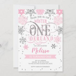 Winter onederland, Girl1st birthday Invitation