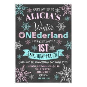 Winter ONEderland Girl 1st Birthday Invitations