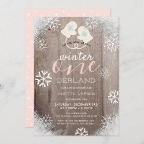 Winter Onederland Girl's 1st Birthday Invitation