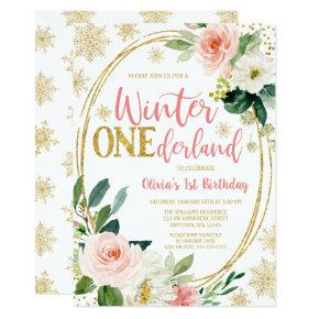 Winter ONEderland Gold Pink Floral Birthday Invitation