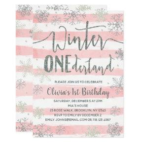 Winter ONEderland  Girls Pink Silver
