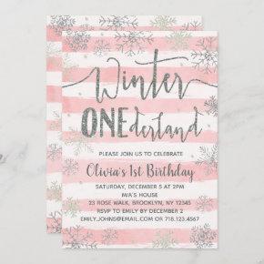 Winter ONEderland  Girls Pink Silver