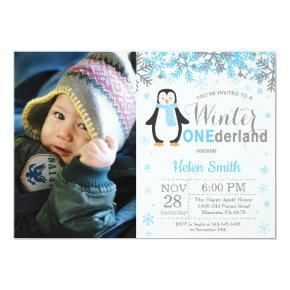 Winter Onederland Penguin Boy 1st Birthday Invitations