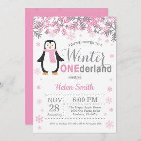 Winter Onederland Penguin Girl 1st Birthday Invitation
