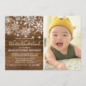 Winter Onederland Photo 1st Birthday Party Invitation