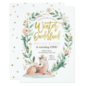 Winter ONEderland Pink Gold Woodland Deer Birthday Invitation