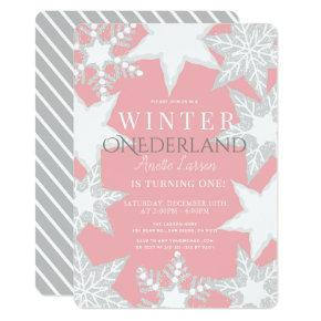 Winter Onederland Pink & Silver 1st Birthday Invitation