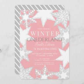 Winter Onederland Pink & Silver 1st Birthday Invitation