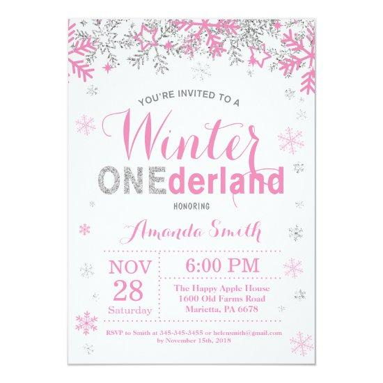 winter onederland pink silver girl 1st birthday invitations