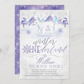 Winter ONEderland Polar Bear Birthday Invitation