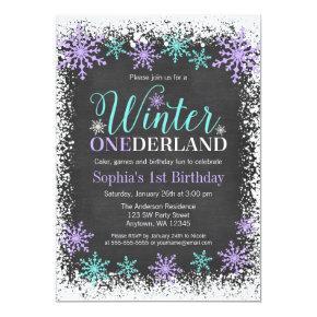 Winter ONEderland Purple Chalkboard 1st Birthday Invitation