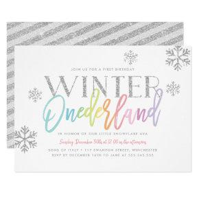 Winter ONEderland Rainbow Silver Glam 1st Birthday Invitation