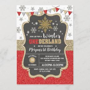 Winter Onederland Red Gold Snowflake 1st Birthday Invitation