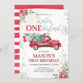 Winter Onederland Red Truck First Birthday Invitation