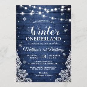 Winter Onederland Rustic Blue Baby First Birthday Invitation