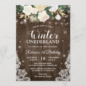 Winter ONEderland Rustic Floral Baby 1st Birthday Invitation