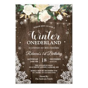Winter ONEderland Rustic Floral Baby 1st Birthday Invitations