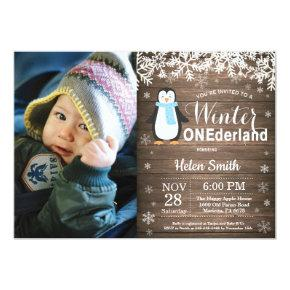 Winter Onederland Rustic Penguin Boy 1st Birthday Invitation