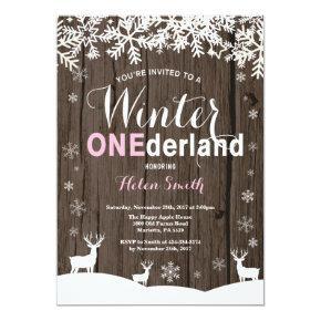 Winter Onederland Rustic Wood Girl 1st Birthday Invitation