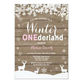 Winter Onederland Rustic Wood Girl 1st Birthday Invitation