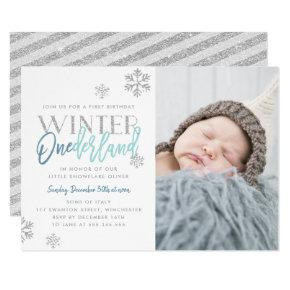 Winter ONEderland Silver Blue 1st Birthday Photo Invitations