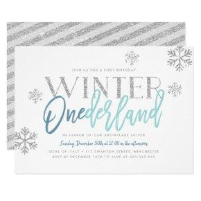 Winter ONEderland Silver Glitter Blue 1st Birthday Invitation