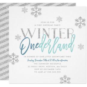 Winter ONEderland Silver Glitter Blue 1st Birthday Invitation