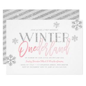 Winter ONEderland Silver Glitter Pink 1st Birthday Invitation