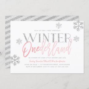 Winter ONEderland Silver Glitter Pink 1st Birthday Invitation