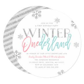 Winter ONEderland Silver Glittery 1st Birthday Invitation