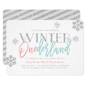 Winter ONEderland Silver Glittery 1st Birthday Invitations