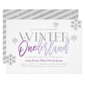 Winter ONEderland Silver Glitz Purple 1st Birthday Invitations