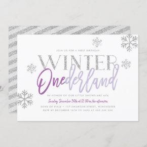 Winter ONEderland Silver Glitz Purple 1st Birthday Invitation
