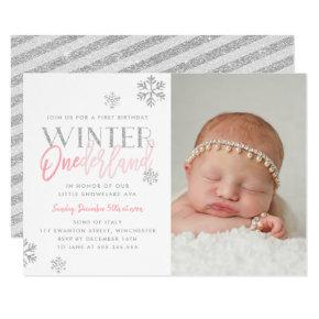 Winter ONEderland Silver Pink 1st Birthday Photo Invitations