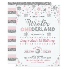 Winter ONEderland Silver Pink Snowflake Birthday Invitation