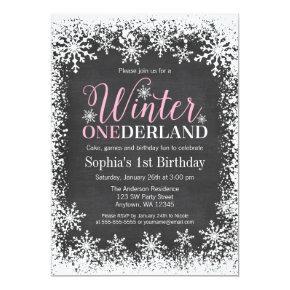 Winter ONEderland Snow Chalkboard 1st Birthday Invitation