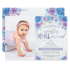 Winter ONEderland Snowflake Birthday Invitation