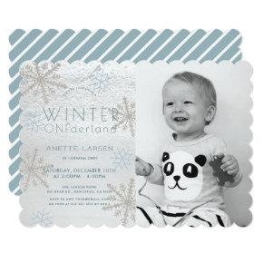 Winter Onederland Snowflake Blue Photo1st Birthday Invitation