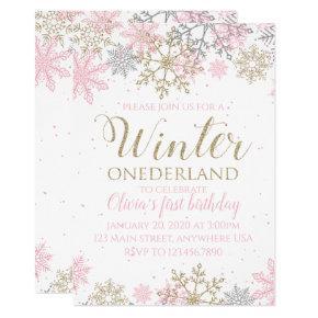 Winter Onederland Snowflake First Birthday Invite